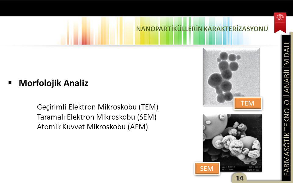 FARMASÖTİK TEKNOLOJİ ANABİLİM DALI 14  Morfolojik Analiz Geçirimli Elektron Mikroskobu (TEM) Taramalı Elektron Mikroskobu (SEM) Atomik Kuvvet Mikrosk