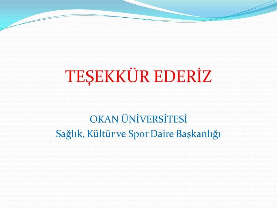 TEŞEKKÜR EDERİZ OKAN ÜNİVERSİTESİ Sağlık, Kültür ve Spor Daire Başkanlığı
