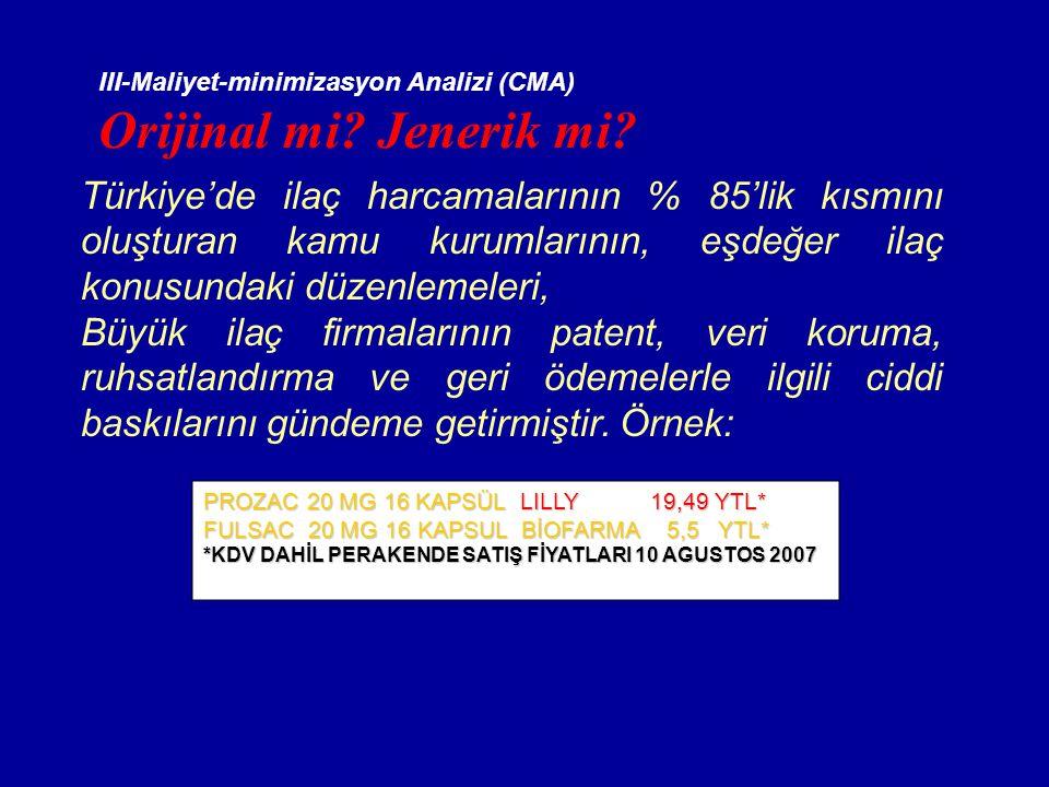 III-Maliyet-minimizasyon Analizi (CMA) Orijinal mi? Jenerik mi? Türkiye'de ilaç harcamalarının % 85'lik kısmını oluşturan kamu kurumlarının, eşdeğer i
