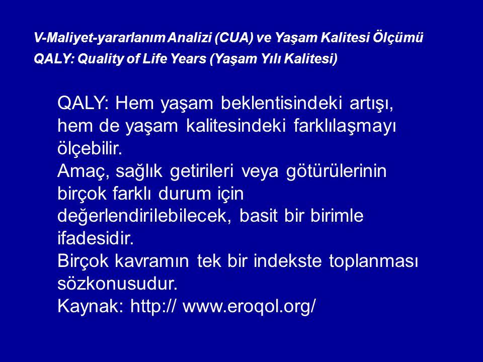 V-Maliyet-yararlanım Analizi (CUA) ve Yaşam Kalitesi Ölçümü QALY: Quality of Life Years (Yaşam Yılı Kalitesi) QALY: Hem yaşam beklentisindeki artışı, hem de yaşam kalitesindeki farklılaşmayı ölçebilir.