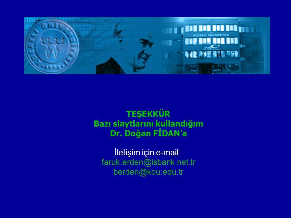 TEŞEKKÜR Bazı slaytlarını kullandığım Dr. Doğan FİDAN'a İletişim için e-mail: faruk.erden@isbank.net.tr berden@kou.edu.tr