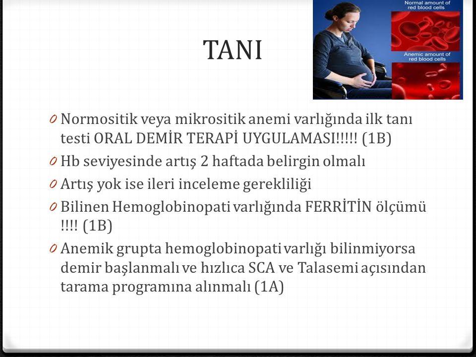 TANI 0 Normositik veya mikrositik anemi varlığında ilk tanı testi ORAL DEMİR TERAPİ UYGULAMASI!!!!.