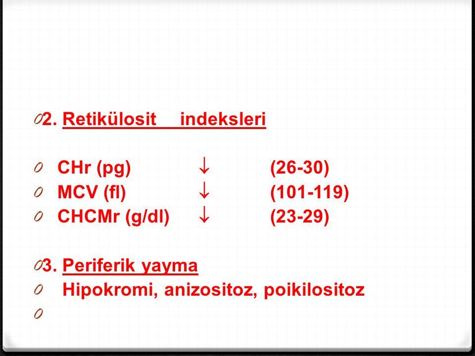 0 2. Retikülosit indeksleri 0 CHr (pg)  (26-30) 0 MCV (fl)  (101-119) 0 CHCMr (g/dl)  (23-29) 0 3. Periferik yayma 0 Hipokromi, anizositoz, poikilo