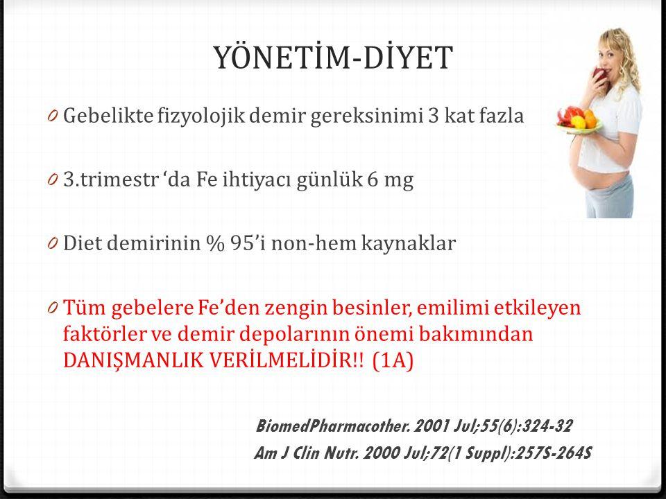 YÖNETİM-DİYET 0 Gebelikte fizyolojik demir gereksinimi 3 kat fazla 0 3.trimestr 'da Fe ihtiyacı günlük 6 mg 0 Diet demirinin % 95'i non-hem kaynaklar