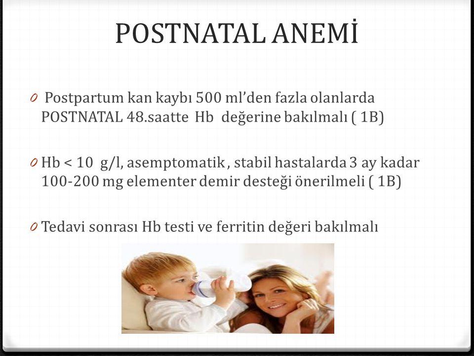 POSTNATAL ANEMİ 0 Postpartum kan kaybı 500 ml'den fazla olanlarda POSTNATAL 48.saatte Hb değerine bakılmalı ( 1B) 0 Hb < 10 g/l, asemptomatik, stabil hastalarda 3 ay kadar 100-200 mg elementer demir desteği önerilmeli ( 1B) 0 Tedavi sonrası Hb testi ve ferritin değeri bakılmalı