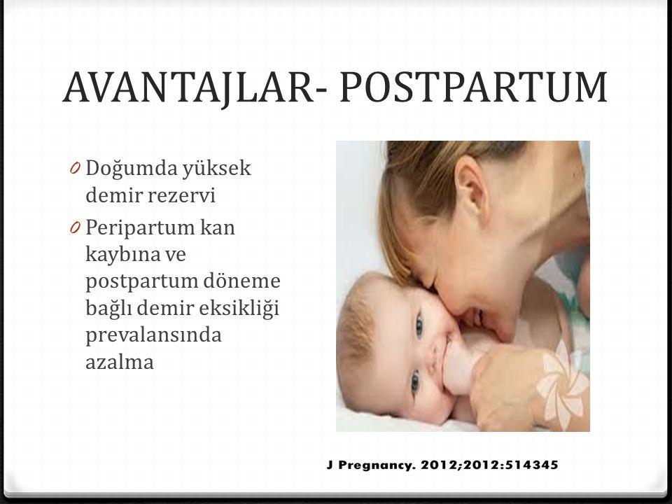 AVANTAJLAR- POSTPARTUM 0 Doğumda yüksek demir rezervi 0 Peripartum kan kaybına ve postpartum döneme bağlı demir eksikliği prevalansında azalma