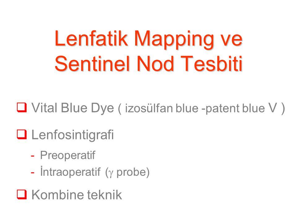 Lenfatik Mapping ve Sentinel Nod Tesbiti  Vital Blue Dye ( izosülfan blue -patent blue V )  Lenfosintigrafi -Preoperatif -İntraoperatif (  probe)  Kombine teknik
