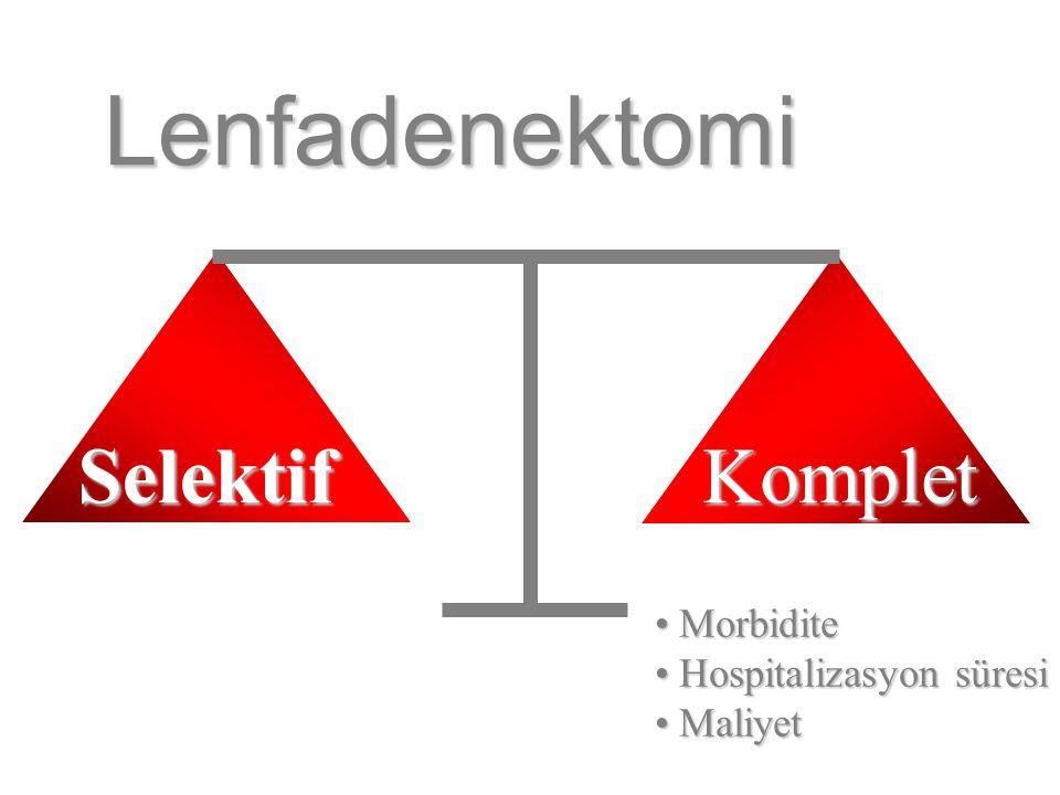 Lenfadenektomi Morbidite Morbidite Hospitalizasyon süresi Hospitalizasyon süresi Maliyet Maliyet KompletSelektif