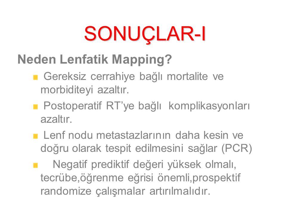 SONUÇLAR-I Neden Lenfatik Mapping.Gereksiz cerrahiye bağlı mortalite ve morbiditeyi azaltır.