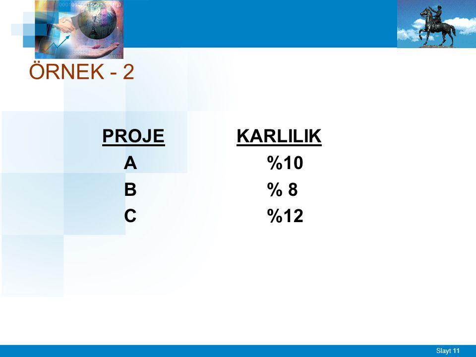 Slayt 11 ÖRNEK - 2 PROJE KARLILIK A%10 B% 8 C%12