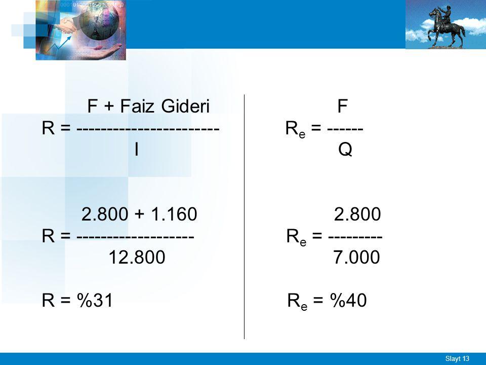 Slayt 13 F + Faiz Gideri F R = ----------------------- R e = ------ I Q 2.800 + 1.160 2.800 R = ------------------- R e = --------- 12.800 7.000 R = %
