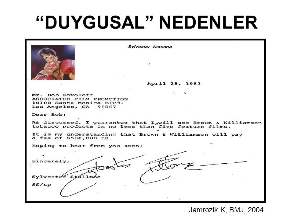"""Jamrozik K, BMJ, 2004. """"DUYGUSAL"""" NEDENLER"""