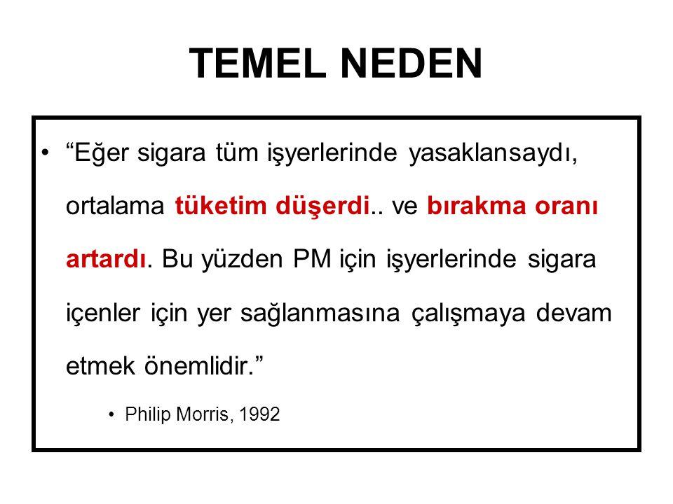 """TEMEL NEDEN """"Eğer sigara tüm işyerlerinde yasaklansaydı, ortalama tüketim düşerdi.. ve bırakma oranı artardı. Bu yüzden PM için işyerlerinde sigara iç"""