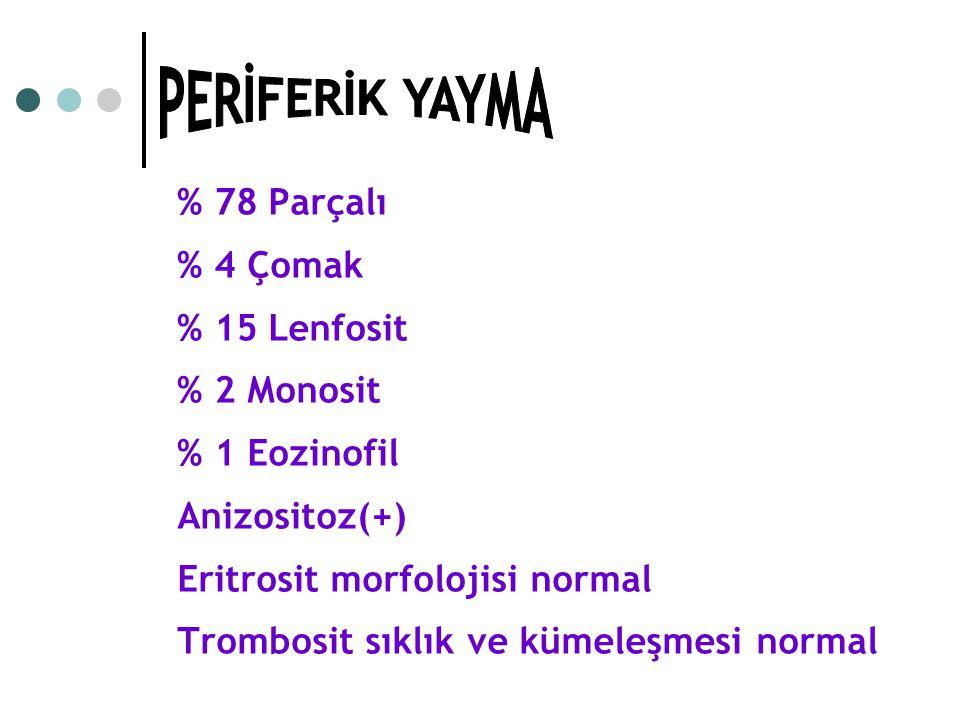 % 78 Parçalı % 4 Çomak % 15 Lenfosit % 2 Monosit % 1 Eozinofil Anizositoz(+) Eritrosit morfolojisi normal Trombosit sıklık ve kümeleşmesi normal