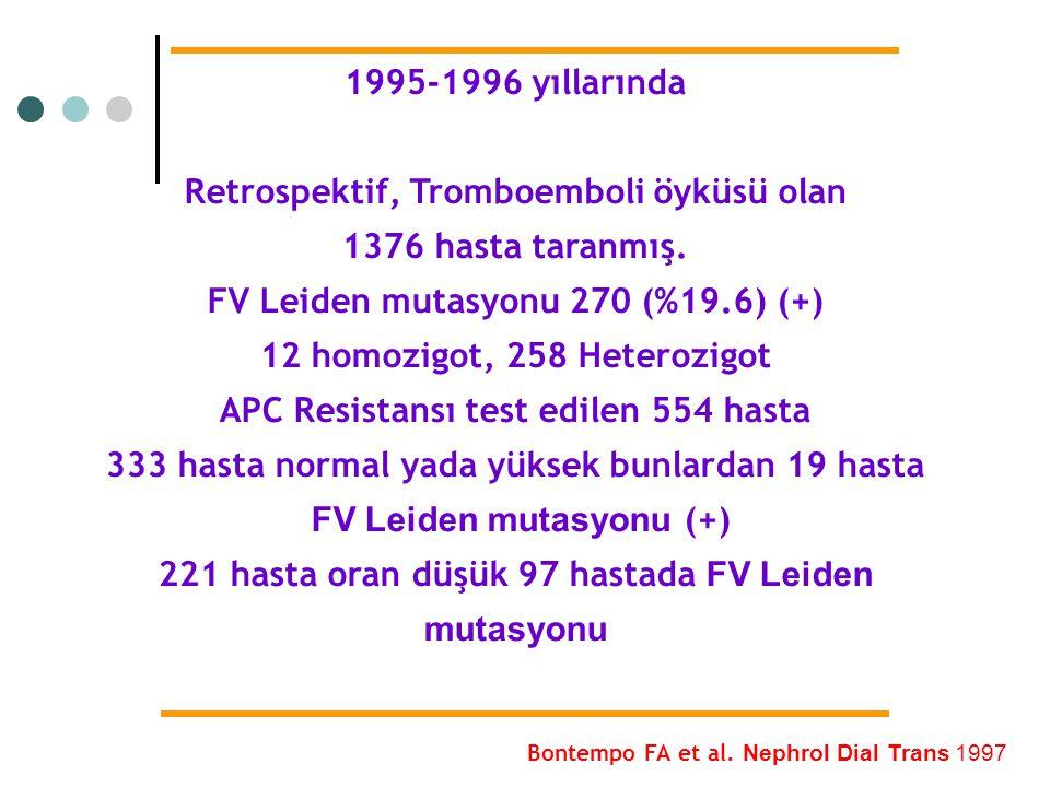 1995-1996 yıllarında Retrospektif, Tromboemboli öyküsü olan 1376 hasta taranmış. FV Leiden mutasyonu 270 (%19.6) (+) 12 homozigot, 258 Heterozigot APC