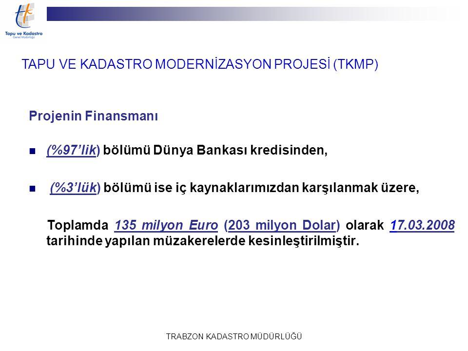 TRABZON KADASTRO MÜDÜRLÜĞÜ Projenin Finansmanı (%97'lik) bölümü Dünya Bankası kredisinden, (%3'lük) bölümü ise iç kaynaklarımızdan karşılanmak üzere,