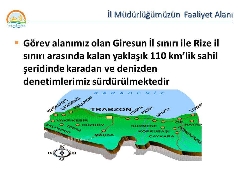 Balıkçılık ve Su Ürünleri Genel Müdürlüğü İl Müdürlüğümüzün Faaliyet Alanı  Görev alanımız olan Giresun İl sınırı ile Rize il sınırı arasında kalan y
