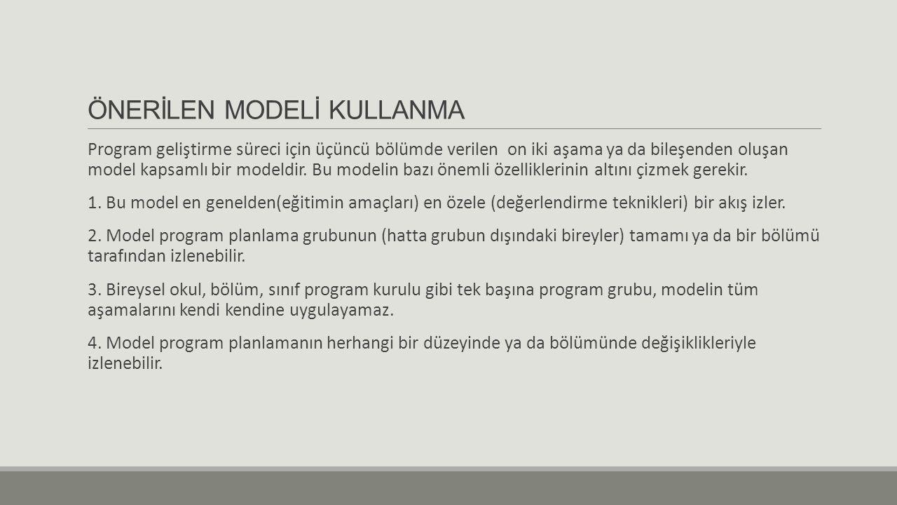 ÖNERİLEN MODELİ KULLANMA Program geliştirme süreci için üçüncü bölümde verilen on iki aşama ya da bileşenden oluşan model kapsamlı bir modeldir.