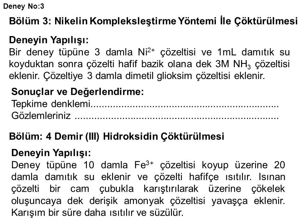 Deney No:3 Bölüm 3: Nikelin Kompleksleştirme Yöntemi İle Çöktürülmesi Deneyin Yapılışı: Bir deney tüpüne 3 damla Ni 2+ çözeltisi ve 1mL damıtık su koyduktan sonra çözelti hafif bazik olana dek 3M NH 3 çözeltisi eklenir.