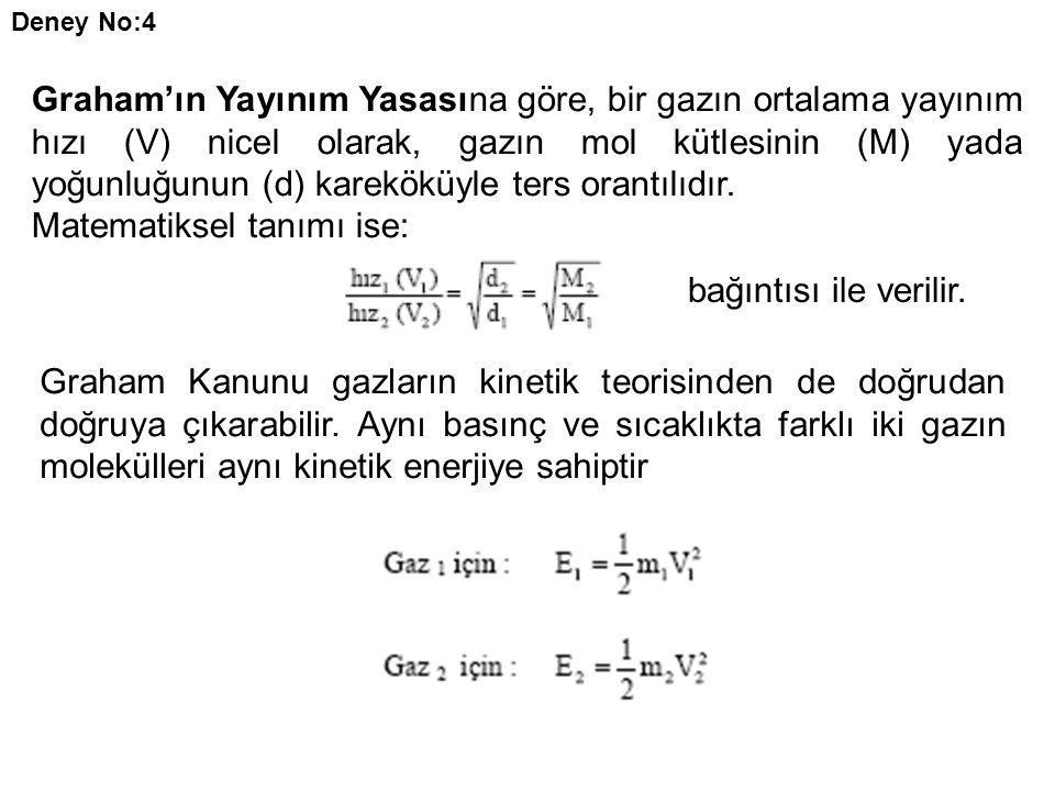 Deney No:4 Graham'ın Yayınım Yasasına göre, bir gazın ortalama yayınım hızı (V) nicel olarak, gazın mol kütlesinin (M) yada yoğunluğunun (d) kareköküyle ters orantılıdır.