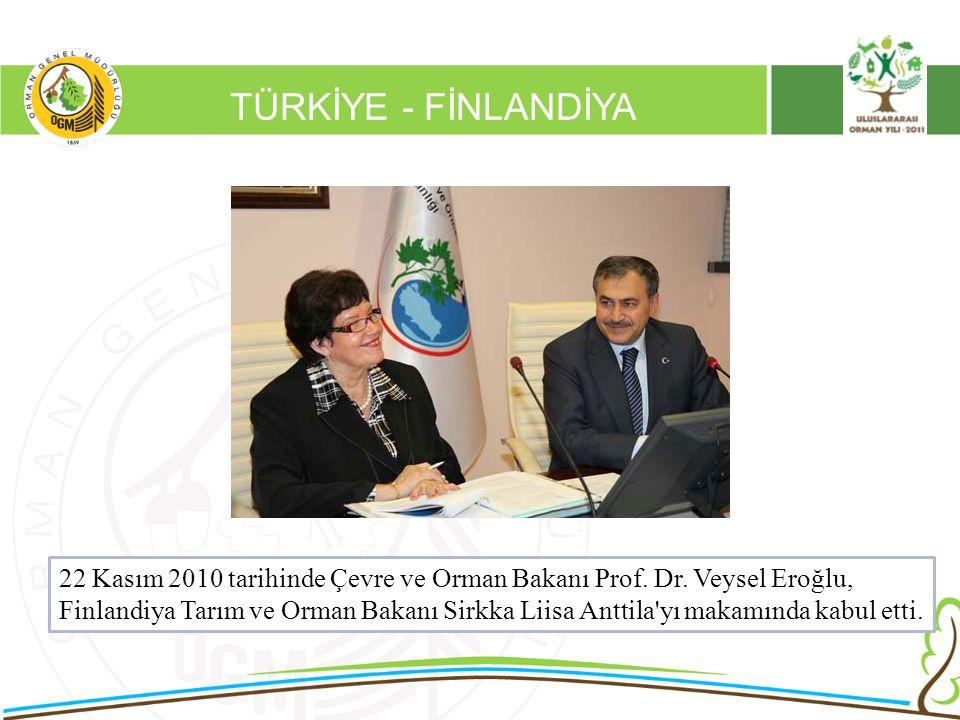 16/12/2010 Kurumsal Kimlik 2 TÜRKİYE - FİNLANDİYA 22 Kasım 2010 tarihinde Çevre ve Orman Bakanı Prof. Dr. Veysel Eroğlu, Finlandiya Tarım ve Orman Bak