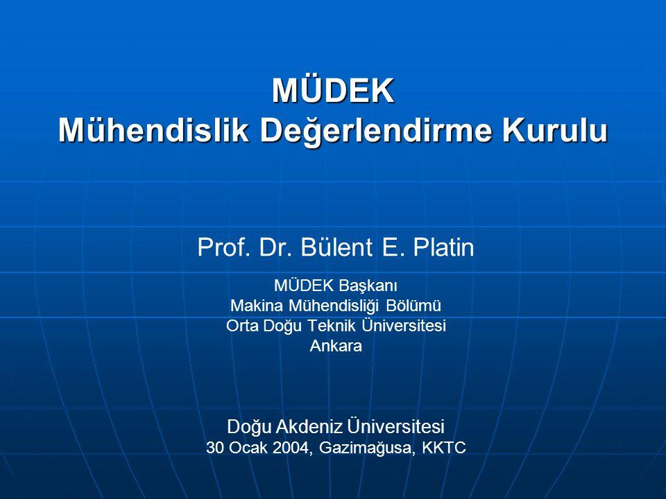 MÜDEK Mühendislik Değerlendirme Kurulu Prof. Dr. Bülent E. Platin MÜDEK Başkanı Makina Mühendisliği Bölümü Orta Doğu Teknik Üniversitesi Ankara Doğu A