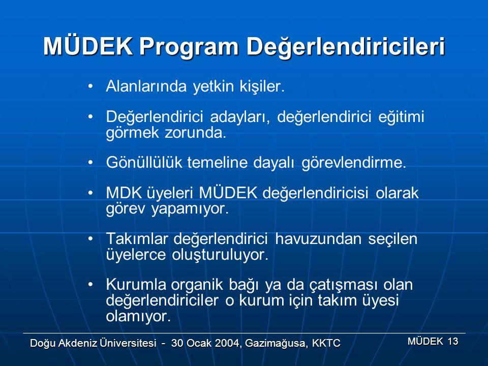 Doğu Akdeniz Üniversitesi - 30 Ocak 2004, Gazimağusa, KKTC MÜDEK 13 MÜDEK Program Değerlendiricileri Alanlarında yetkin kişiler. Değerlendirici adayla