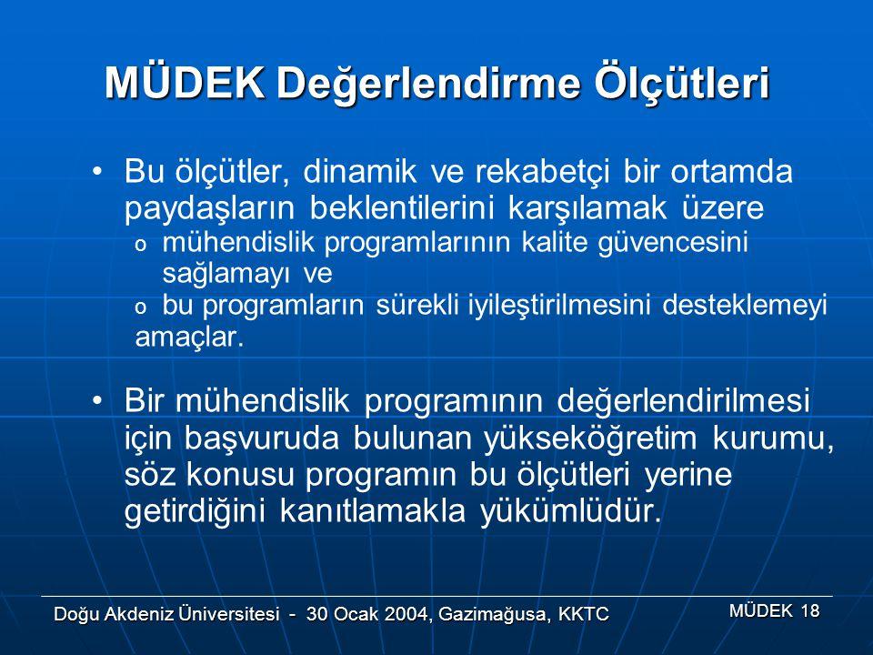Doğu Akdeniz Üniversitesi - 30 Ocak 2004, Gazimağusa, KKTC MÜDEK 18 MÜDEK Değerlendirme Ölçütleri Bu ölçütler, dinamik ve rekabetçi bir ortamda paydaş