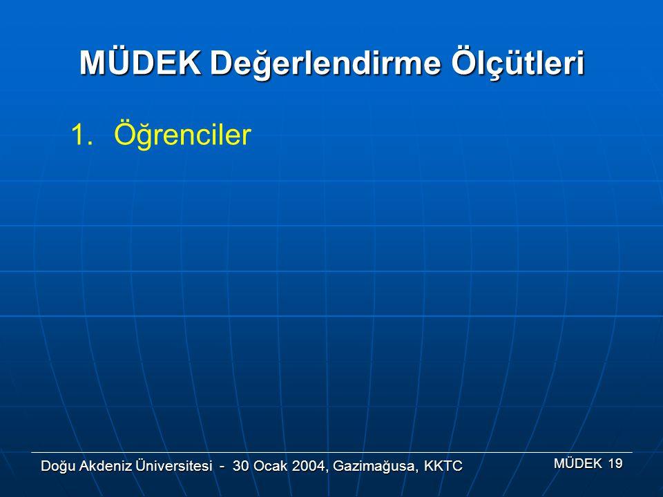 Doğu Akdeniz Üniversitesi - 30 Ocak 2004, Gazimağusa, KKTC MÜDEK 19 MÜDEK Değerlendirme Ölçütleri 1.Öğrenciler