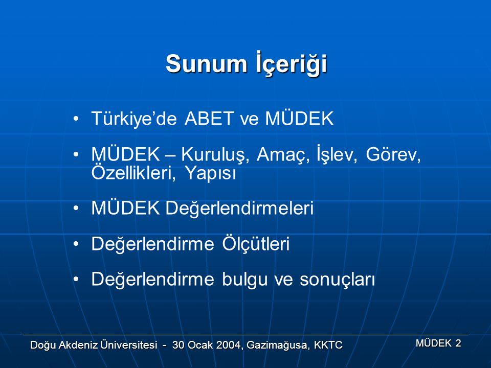 Doğu Akdeniz Üniversitesi - 30 Ocak 2004, Gazimağusa, KKTC MÜDEK 2 Türkiye'de ABET ve MÜDEK MÜDEK – Kuruluş, Amaç, İşlev, Görev, Özellikleri, Yapısı M