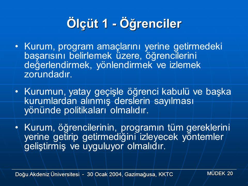 Doğu Akdeniz Üniversitesi - 30 Ocak 2004, Gazimağusa, KKTC MÜDEK 20 Ölçüt 1 - Öğrenciler Kurum, program amaçlarını yerine getirmedeki başarısını belir