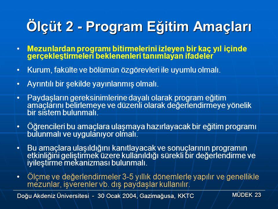 Doğu Akdeniz Üniversitesi - 30 Ocak 2004, Gazimağusa, KKTC MÜDEK 23 Ölçüt 2 - Program Eğitim Amaçları Mezunlardan programı bitirmelerini izleyen bir k