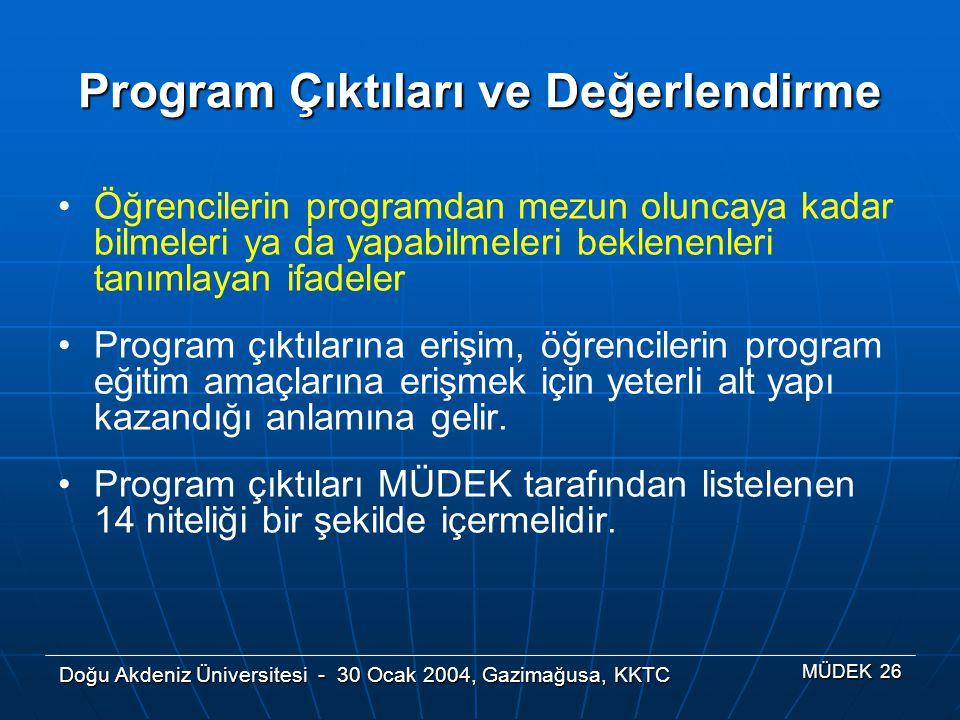 Doğu Akdeniz Üniversitesi - 30 Ocak 2004, Gazimağusa, KKTC MÜDEK 26 Program Çıktıları ve Değerlendirme Öğrencilerin programdan mezun oluncaya kadar bi