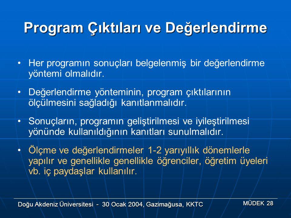 Doğu Akdeniz Üniversitesi - 30 Ocak 2004, Gazimağusa, KKTC MÜDEK 28 Program Çıktıları ve Değerlendirme Her programın sonuçları belgelenmiş bir değerle