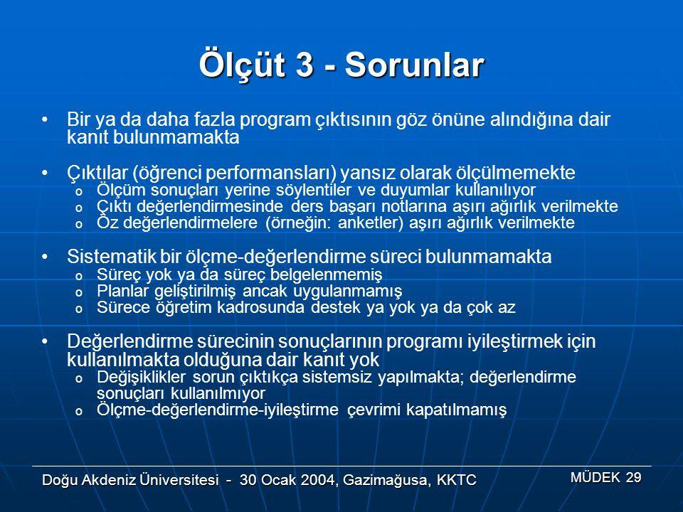 Doğu Akdeniz Üniversitesi - 30 Ocak 2004, Gazimağusa, KKTC MÜDEK 29 Ölçüt 3 - Sorunlar Bir ya da daha fazla program çıktısının göz önüne alındığına da