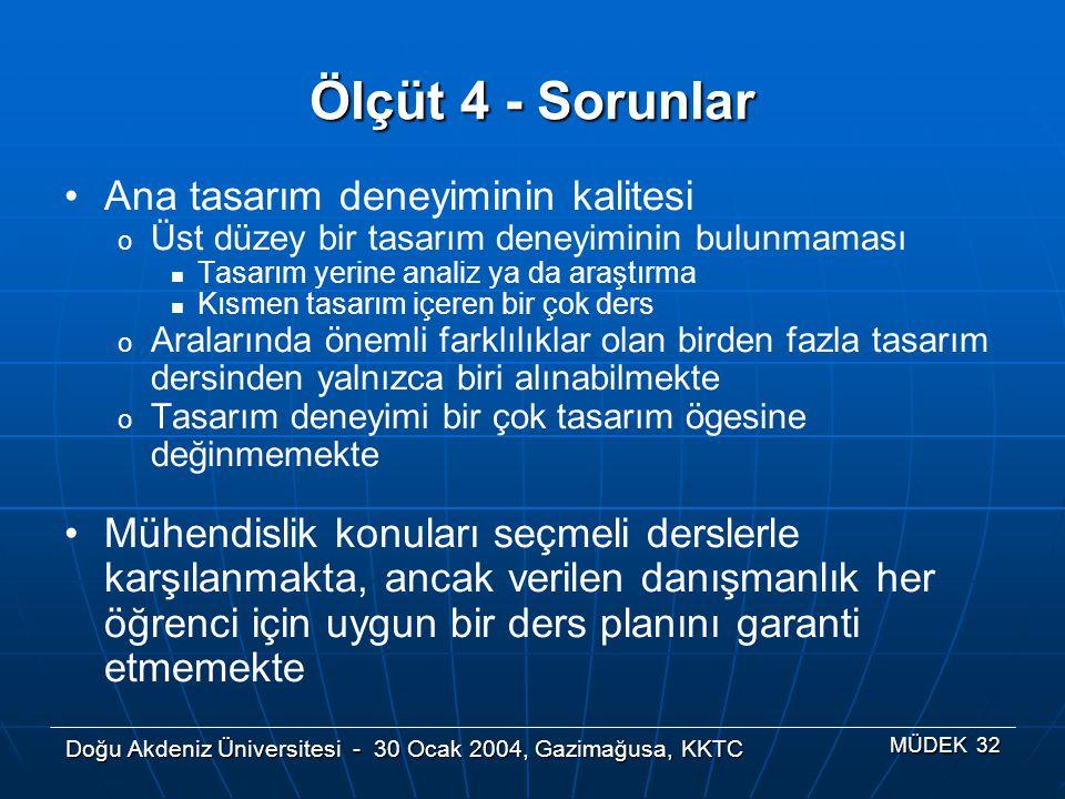 Doğu Akdeniz Üniversitesi - 30 Ocak 2004, Gazimağusa, KKTC MÜDEK 32 Ölçüt 4 - Sorunlar Ana tasarım deneyiminin kalitesi o Üst düzey bir tasarım deneyi