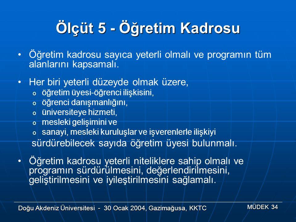 Doğu Akdeniz Üniversitesi - 30 Ocak 2004, Gazimağusa, KKTC MÜDEK 34 Ölçüt 5 - Öğretim Kadrosu Öğretim kadrosu sayıca yeterli olmalı ve programın tüm a