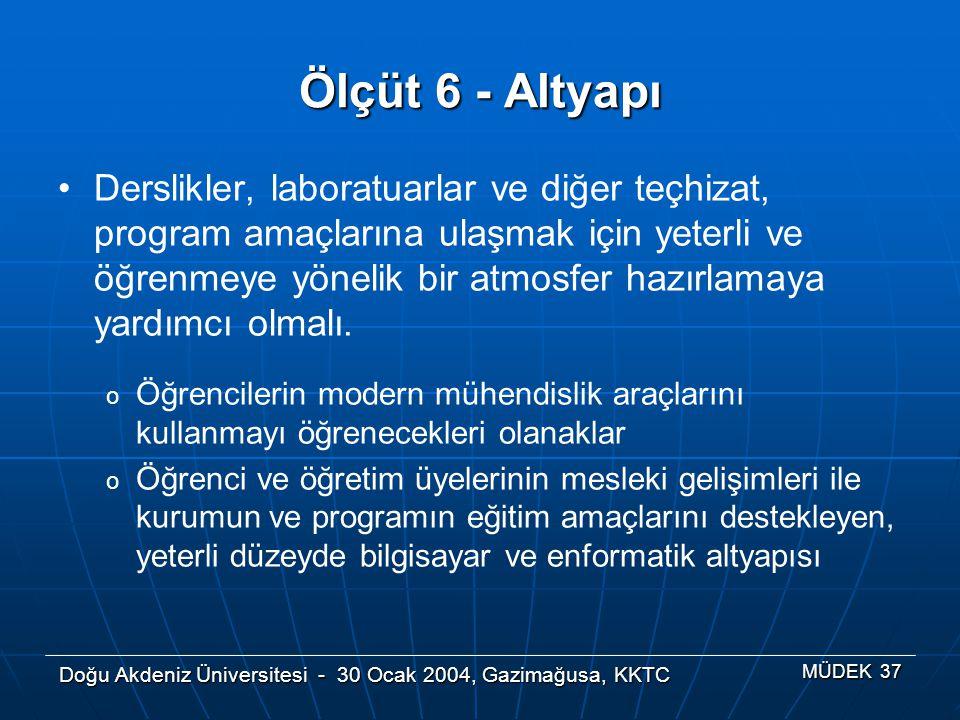 Doğu Akdeniz Üniversitesi - 30 Ocak 2004, Gazimağusa, KKTC MÜDEK 37 Ölçüt 6 - Altyapı Derslikler, laboratuarlar ve diğer teçhizat, program amaçlarına