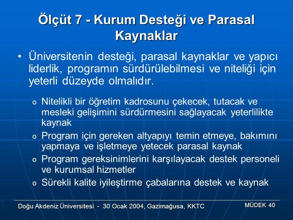 Doğu Akdeniz Üniversitesi - 30 Ocak 2004, Gazimağusa, KKTC MÜDEK 40 Ölçüt 7 - Kurum Desteği ve Parasal Kaynaklar Üniversitenin desteği, parasal kaynak