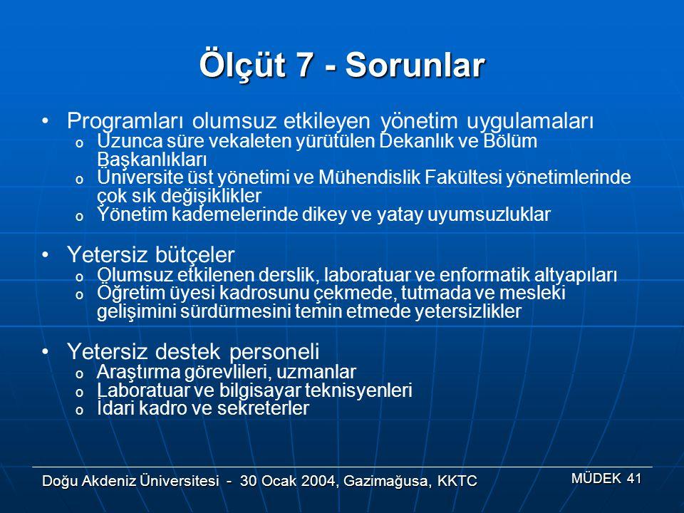 Doğu Akdeniz Üniversitesi - 30 Ocak 2004, Gazimağusa, KKTC MÜDEK 41 Ölçüt 7 - Sorunlar Programları olumsuz etkileyen yönetim uygulamaları o Uzunca sür