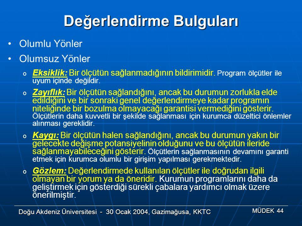 Doğu Akdeniz Üniversitesi - 30 Ocak 2004, Gazimağusa, KKTC MÜDEK 44 Değerlendirme Bulguları Olumlu Yönler Olumsuz Yönler o Eksiklik: Bir ölçütün sağla
