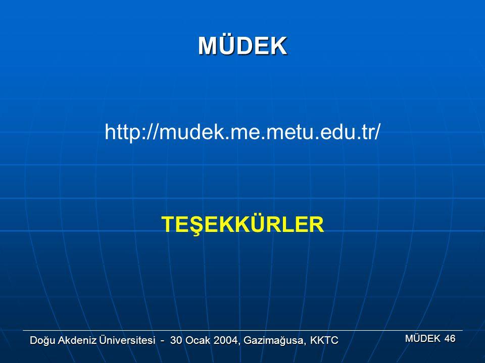 Doğu Akdeniz Üniversitesi - 30 Ocak 2004, Gazimağusa, KKTC MÜDEK 46 MÜDEK http://mudek.me.metu.edu.tr/ TEŞEKKÜRLER