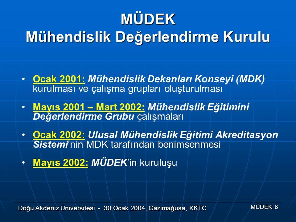 Doğu Akdeniz Üniversitesi - 30 Ocak 2004, Gazimağusa, KKTC MÜDEK 6 Ocak 2001: Mühendislik Dekanları Konseyi (MDK) kurulması ve çalışma grupları oluştu