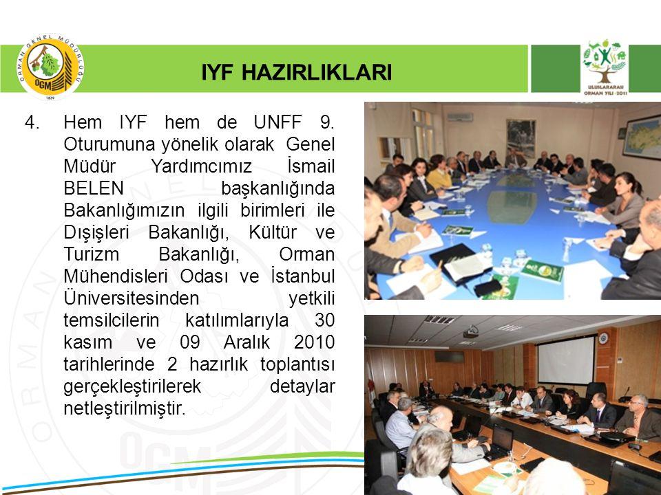 4.Hem IYF hem de UNFF 9. Oturumuna yönelik olarak Genel Müdür Yardımcımız İsmail BELEN başkanlığında Bakanlığımızın ilgili birimleri ile Dışişleri Bak