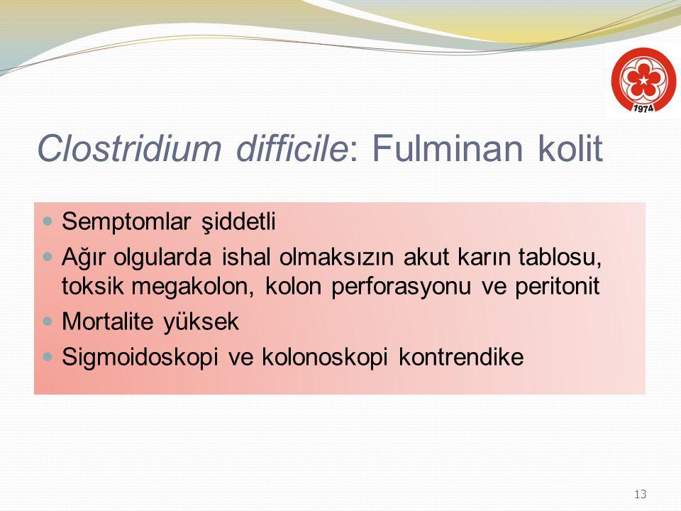 13 Clostridium difficile: Fulminan kolit Semptomlar şiddetli Ağır olgularda ishal olmaksızın akut karın tablosu, toksik megakolon, kolon perforasyonu