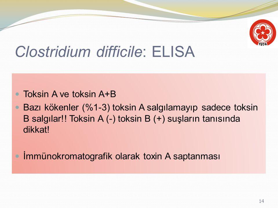 14 Clostridium difficile: ELISA Toksin A ve toksin A+B Bazı kökenler (%1-3) toksin A salgılamayıp sadece toksin B salgılar!! Toksin A (-) toksin B (+)
