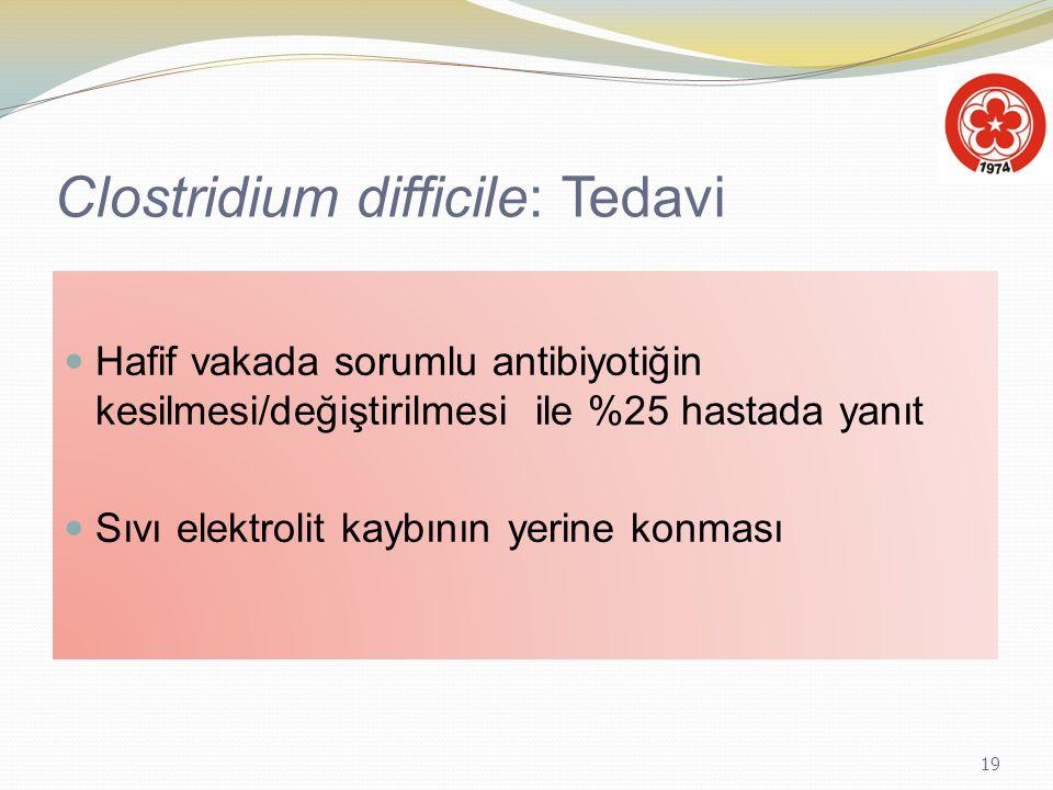 19 Clostridium difficile: Tedavi Hafif vakada sorumlu antibiyotiğin kesilmesi/değiştirilmesi ile %25 hastada yanıt Sıvı elektrolit kaybının yerine kon