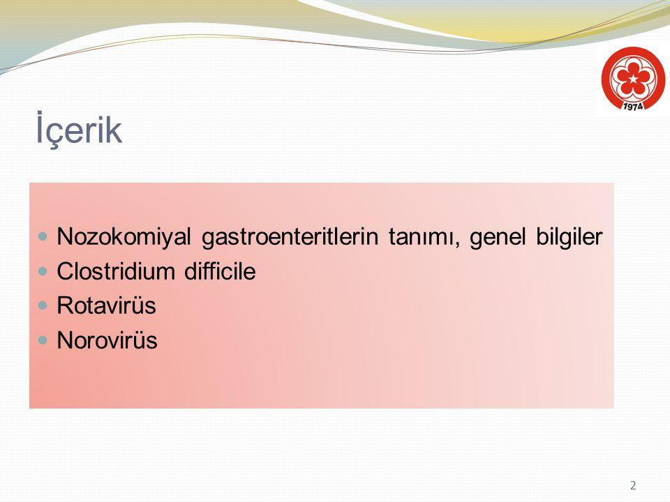 2 İçerik Nozokomiyal gastroenteritlerin tanımı, genel bilgiler Clostridium difficile Rotavirüs Norovirüs