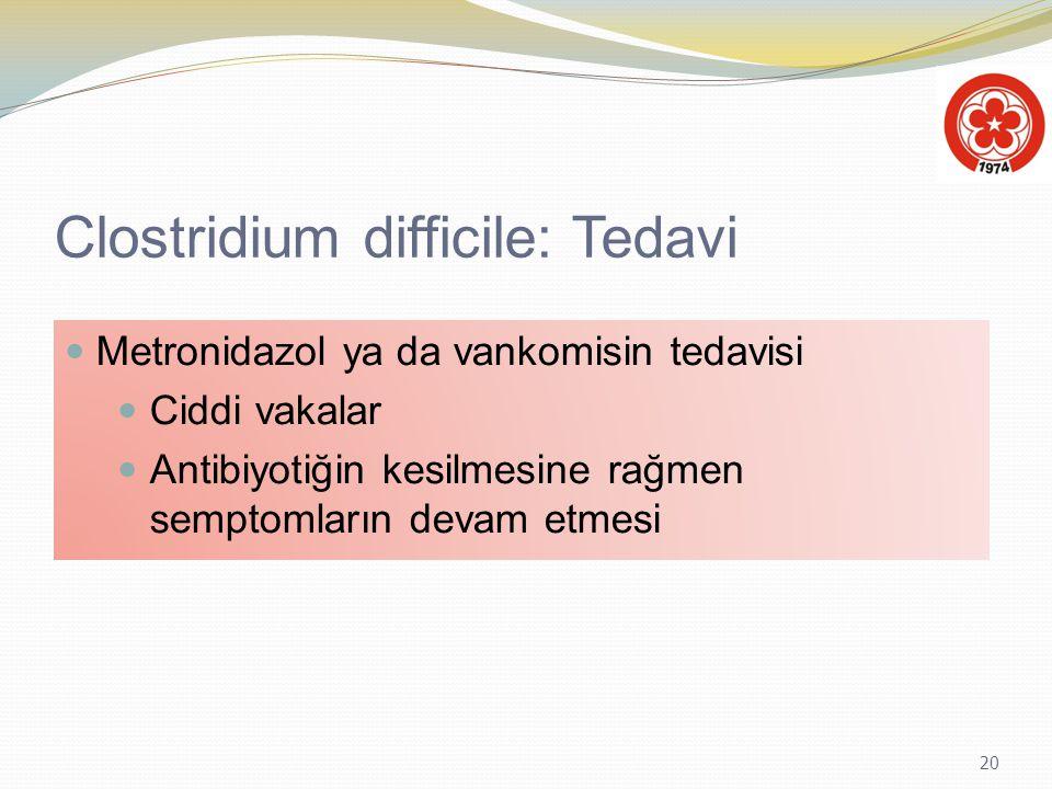 20 Clostridium difficile: Tedavi Metronidazol ya da vankomisin tedavisi Ciddi vakalar Antibiyotiğin kesilmesine rağmen semptomların devam etmesi