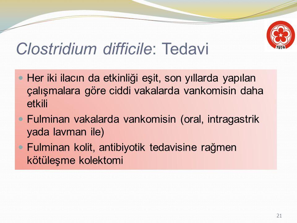 21 Clostridium difficile: Tedavi Her iki ilacın da etkinliği eşit, son yıllarda yapılan çalışmalara göre ciddi vakalarda vankomisin daha etkili Fulmin